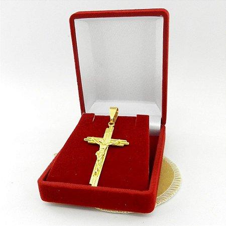 Pingente Cruz Cristo 45mm Folheado Ouro Pi148