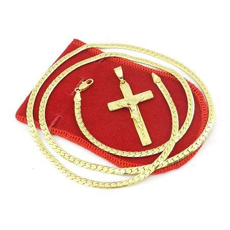 Corrente Masculina 70cm 4mm Cruz Cristo Folheado Ouro Cr608