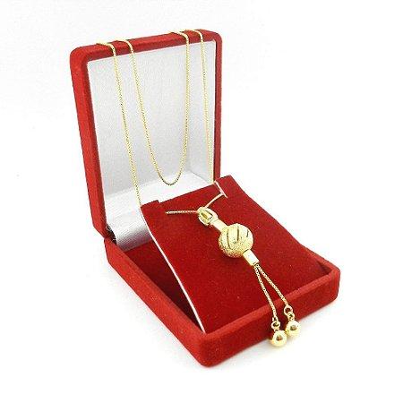 Corrente Feminina 60cm 1 Bola 12mm Folheado Ouro CR758
