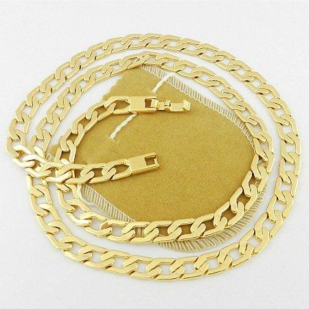 Corrente Masculina 50cm 8mm Largura Folheada Ouro Cr350