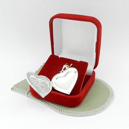 Pingente Coração Relicario 3cm Folheada Prata Pi214
