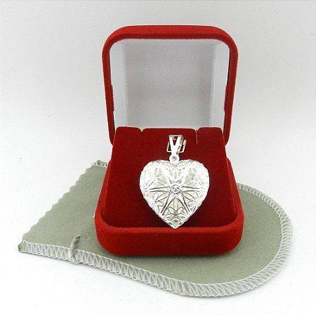 Pingente Coração Relicario 3cm Folheado Prata Pi215