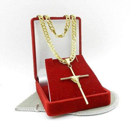 Corrente Feminina 45cm 5mm + Cruz Palito Folheado Ouro CR461