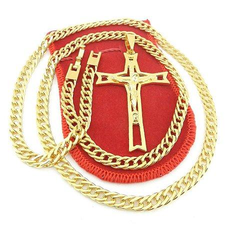 Corrente Masculina 70cm 6mm Cruz Cristo Folheado Ouro CR671