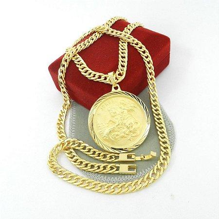 Corrente Masculina 70cm 6mm + Sao Jorge Folheado Ouro CR671
