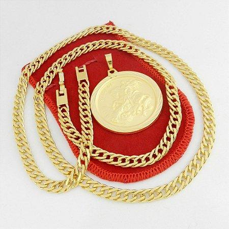 Corrente Masculina 70cm 6mm + Sao Jorge 4cm Folheado Ouro CR671