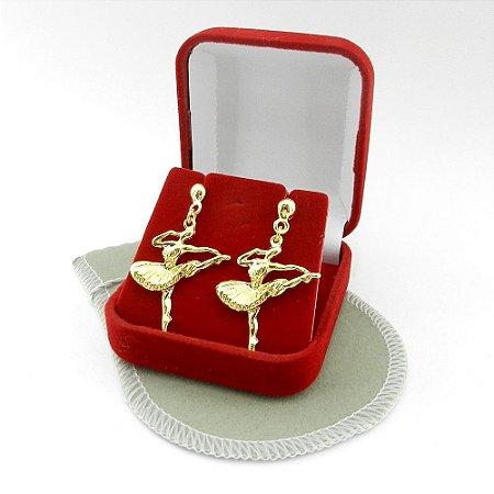 Brinco Feminino Bailarina 35mm Folheado Ouro BR122