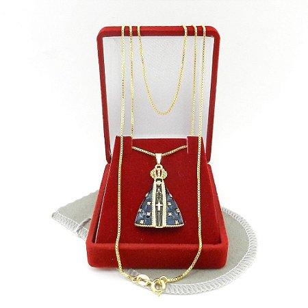 Corrente Feminina 40cm N. S. Aparecida Folheado Ouro CR720