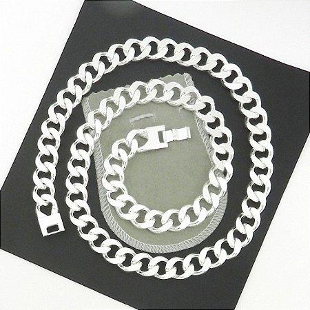 Corrente Masculina 70cm 13mm Largura Folheada Prata CR245