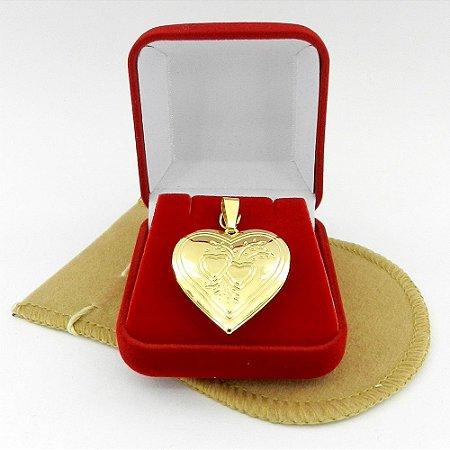 Pingente Coração Relicário 3cm Folheado Ouro Pi144