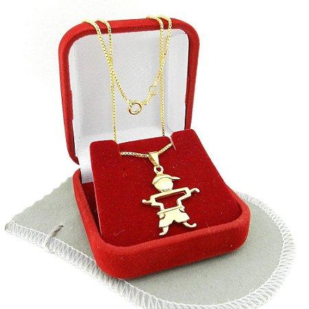 Corrente Feminina 50cm 1mm Menino Folheado Ouro CR786