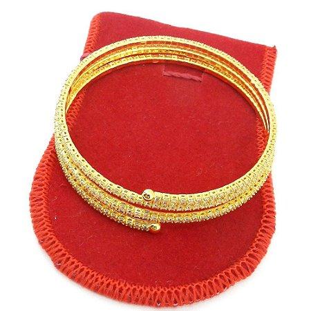 Pulseira Feminina Bracelete Strás Branco Folheada Ouro Pl099