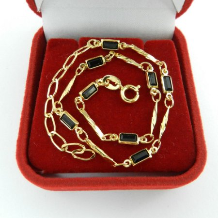 Pulseira Feminina 21/26cm 3mm Preta Folheada Ouro PL494