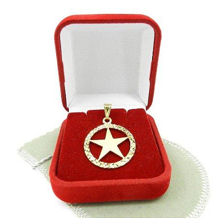Pingente Estrela 5 Pontas 25mm Folheada Ouro Pi219