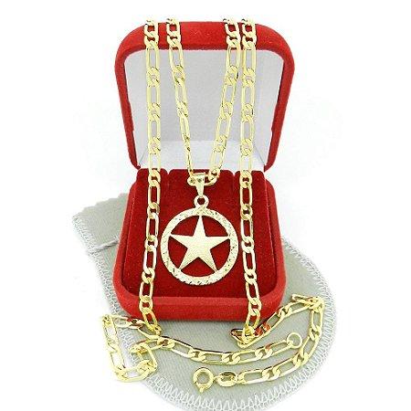 Corrente Masculina 70cm 4mm + Estrela Folheado Ouro CR806
