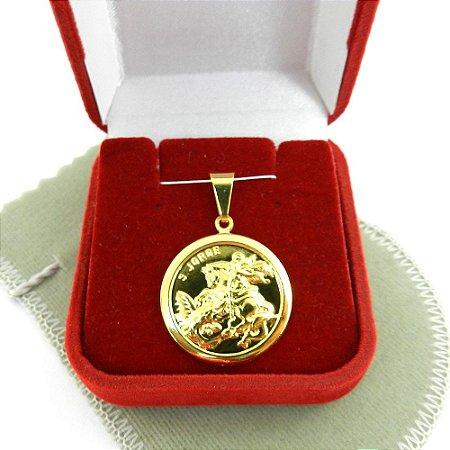 Pingente São Jorge 23mm Folheado Ouro Pi126