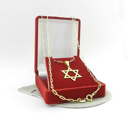 Corrente Masculina 70cm 2mm + Estrela Folheado Ouro CR1546