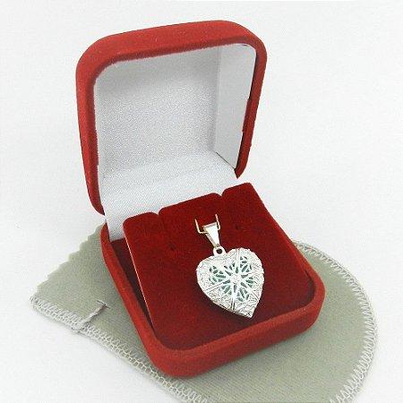 Pingente Coração Aromatizado 2cm Folheado Prata Pi222