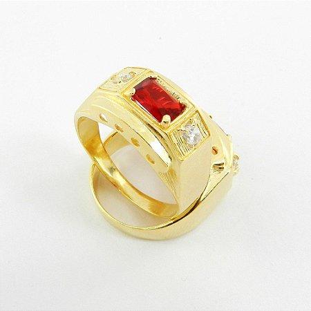 Anel Masculino Aro 21 Vermelho Folheado Ouro AN170