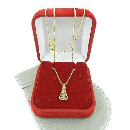 Corrente Feminina 45/50cm N.S, Aparecida Folheada Ouro CR814