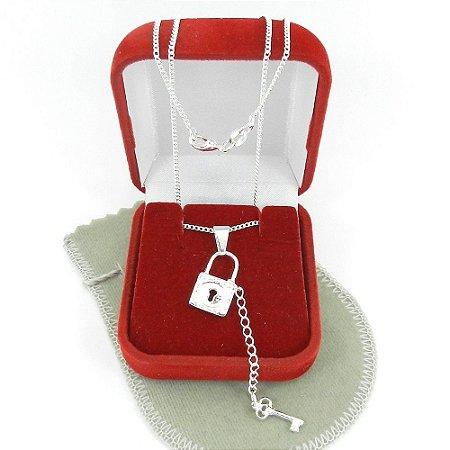 Corrente Feminina 42cm Cadeado Chave Folheada Prata GG166