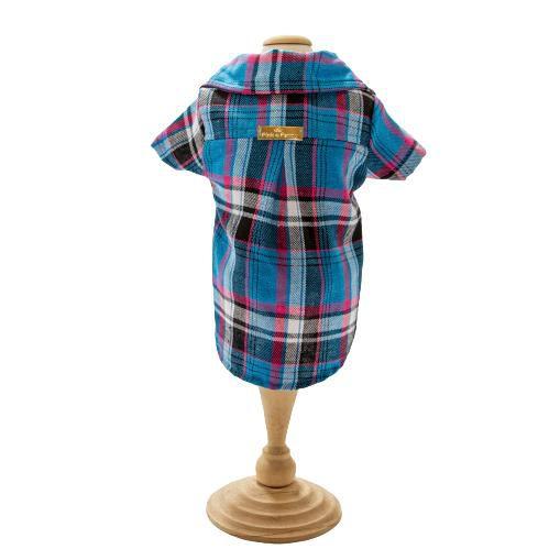 Camisa Para Cachorro Flanelada Xadrez Azul