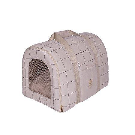 Bolsa De Transporte Pet Woof Classic Lazzy Grid Areia