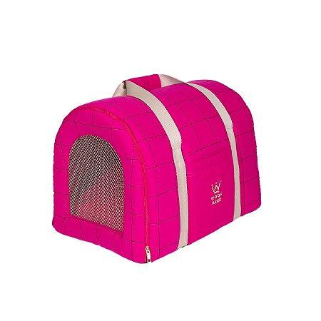 Bolsa De Transporte Pet Woof Classic Lazzy Grid Pink