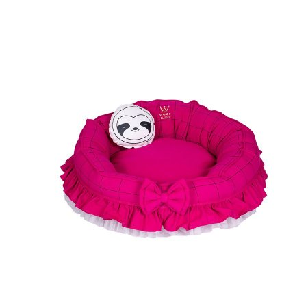 Cama Para Cachorro Woof Classic Fofinha Euro Lazzy Grid Pink
