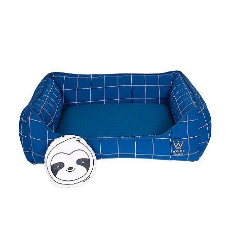 Cama Para Cachorro Woof Classic Retangular Lazzy Grid Azul