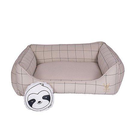 Cama Para Cachorro Woof Classic Retangular Lazzy Grid Areia