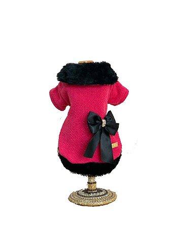 Casaco Para Cachorro Gola Tweed Melina Pink