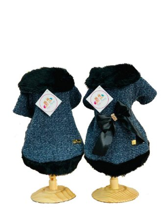 Casaco Para Cachorro Gola Tweed Melina Azul
