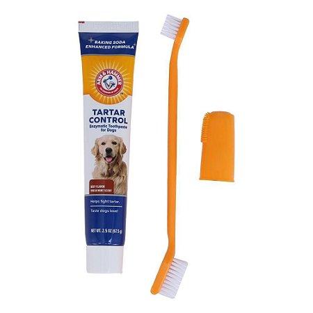 Kit Saúde Bucal Para Cachorro Enzimática Tartar Control Arm & Hammer Sabor Carne