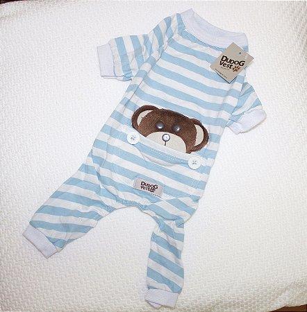 Pijama + travesseiro DuDog Vest - azul claro