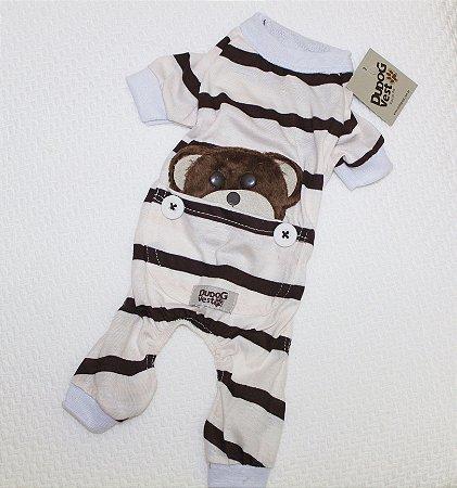 Pijama + travesseiro Dudog Vest - marrom e bege