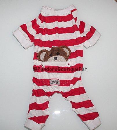 Pijama + travesseiro DuDog Vest - vermelho