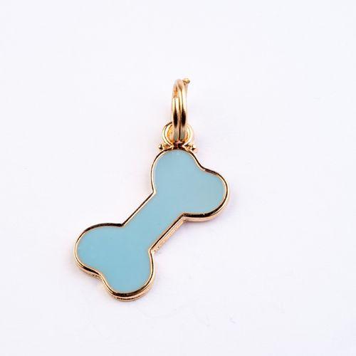 Pingente de Identificação para Cachorro Woof Classic Ossinho Azul