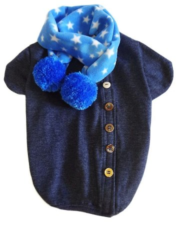 Cardigan Azul com cachecol