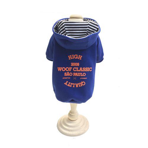 Casaco Moletom c/ Capuz - WOOF SP Azul e laranja