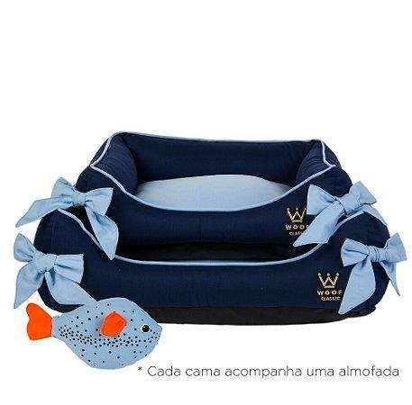 Cama para Cachorro Woof Pet Deep Retangular Laço Azul Marinho