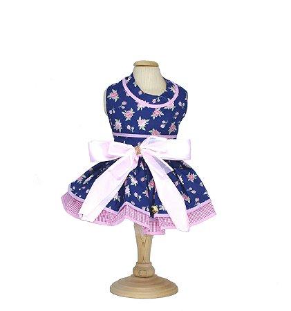 Vestido para Cachorro P&F Floral Azul e Rosa