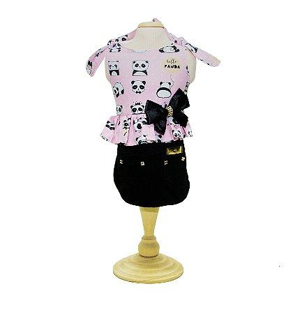 Vestido para Cachorro Saia Jeans - Panda Rosa