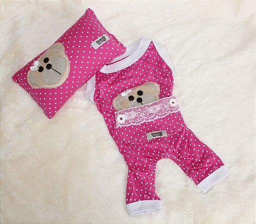 Pijama + travesseiro DuDog Vest - rosa poá / sem manga