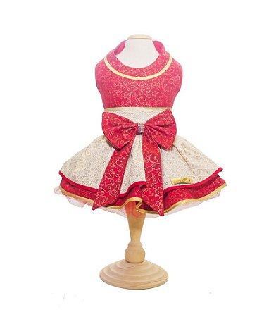 Vestido para Cachorro Vermelho e Dourado Natal
