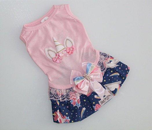 Vestido para Cachorro Unicórnio DuDog Vest rosa e azul