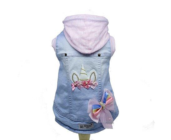 Jaqueta Jeans para Cachorro DuDog Vest Unicórnio