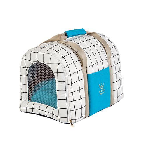 Bolsa de Transporte Pet Woof Classic Grid Turquesa e Crú