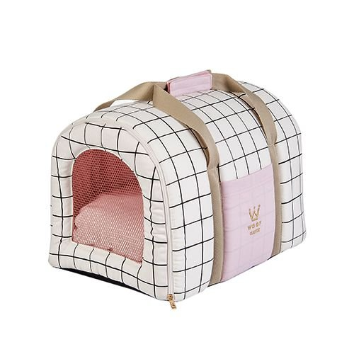 Bolsa Transporte Pet Woof Classic Grid Crú / Rosa