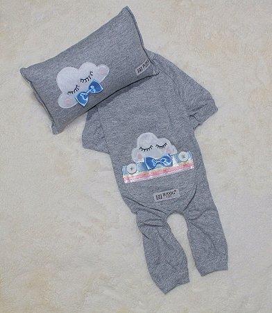 Pijama + travesseiro DuDog Vest Nuvem Cinza Gravata